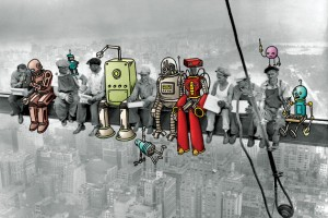 Robot workers and human workers